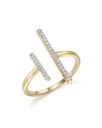 Mateo 14K Yellow Gold Double Bar Ring With Diamonds White Gold