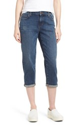 Eileen Fisher Tapered Stretch Organic Cotton Crop Jeans Abraded Aged Indigo