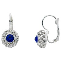 Monet Pave Glass Crystal Leverback Drop Earrings Silver Blue
