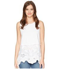 Dylan By True Grit Faded Charm Sleeveless Modern Tank With Embroidered Cotton Hem White White