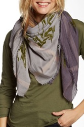 Leigh And Luca Olive Flock Square Fringe Silk Blend Scarf Purple