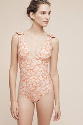 Anthropologie Bowtied One Piece Medium Orange