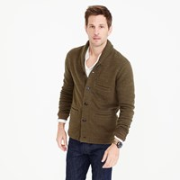 J.Crew Wallace And Barnes Cotton Shawl Collar Cardigan In Bird's Eye Stitch