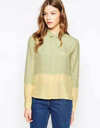 Le Mont St Michel Small Checked Colourblock Shirt Yellowground