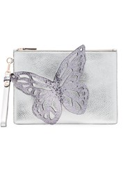 Sophia Webster Silver Flossy Butterfly Leather Clutch Metallic