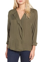 Leith Women's Drape Placket Top Olive Sarma