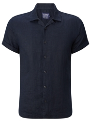 John Lewis And Co. Linen Bowling Shirt Navy