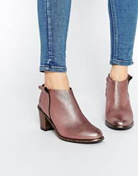 Miista Anais Low Cut Leather Heeled Ankle Boots Dustypink