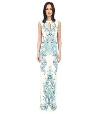 Just Cavalli Backless Keyhole Gown In Peacock Print White Women's Dress