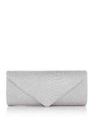 Issa Snake Flap Over Clutch Silver