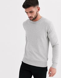 Bench Knitted Crew Neck Jumper In Grey Marl