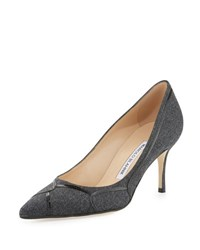 Manolo Blahnik Cetto Patent Piped Flannel Pump Gray Oslo 11 Grey Flan