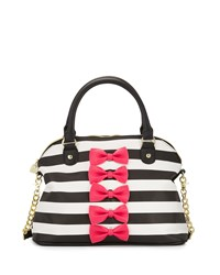 Betsey Johnson Chic Bows Dome Satchel Bag Fuchsia Pink