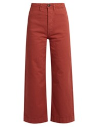 Mih Jeans Caron Wide Leg Cropped Denim Trousers Red