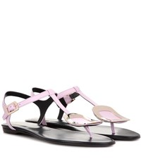 Roger Vivier Thong Chips Embellished Leather Sandals Purple
