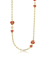 Tory Burch Fleur Rosary Long Necklace Red