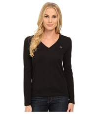 Lacoste Long Sleeve Cotton Jersey V Neck Tee Shirt Black Women's T Shirt