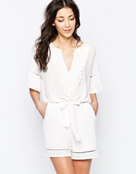 Wal G Playsuit With Crochet Panel White