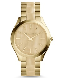 Michael Kors Ladies Goldtone And Horn Runway Watch