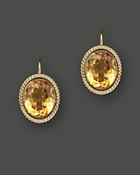 Bloomingdale's 14K Yellow Gold Bezel Set Large Drop Earrings With Citrine Yellow Gold
