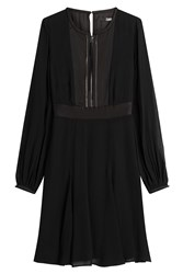Karl Lagerfeld Chiffon Dress With Zipped Front Black