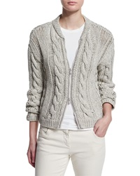 Brunello Cucinelli Cotton Cable Knit Zip Front Cardigan Light Gray Light Grey