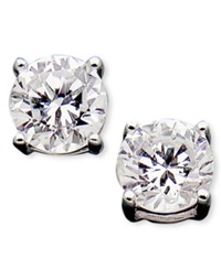 Crislu Earrings Platinum Over Sterling Silver Round Cut Cubic Zirconia Stud Earrings 1 1 2 Ct. T.W.