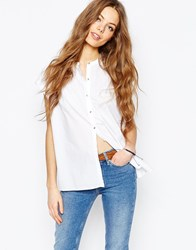 Mih Jeans M.I.H. Jeans Button Front Shirt With Pleat Back White