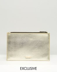 Skinnydip Exclusive Zip Top Pouch Bag In Gold Gold