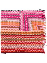 Missoni Zig Zag Crochet Knit Scarf Women Cotton One Size Red