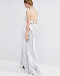 Jarlo Wedding Overlay Maxi Dress With Fishtail And Oversized Bow Back Silver Grey