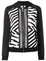 Versus Striped Print Zipped Hoodie Black