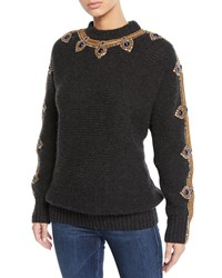 Ralph Lauren Cashmere Jewel Embroidered Sweater Charcoal
