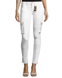 Robin's Jeans Military Inspired Studded Skinny Stretch Cotton Pants White