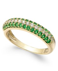 Macy's Sapphire 1 2 Ct. T.W. And Diamond 1 4 Ct. T.W. Ring In 14K White Gold Also Emerald And Ruby