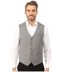Perry Ellis Solid Texture Suit Vest Brushed Nickel Men's Vest Silver