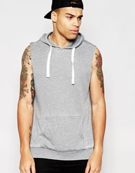 Another Influence Burn Out Cap Sleeve Muscle Fit Hoodie Grey
