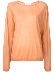 Christophe Lemaire Crew Neck Knitted Top Women Wool S Yellow Orange