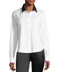 Theory Button Front Velvet Collar Fancy Shirt White