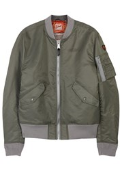 Schott Nyc American College Army Green Bomber Jacket Khaki
