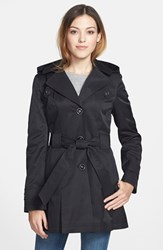 Women's Via Spiga 'Scarpa' Single Breasted Hooded Trench Black