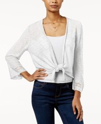 Hooked Up By Iot It's Our Time Juniors' Pointelle Back Tie Front Cardigan White