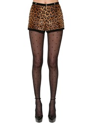 Saint Laurent Leopard Print Pony Skin Shorts Multicolor