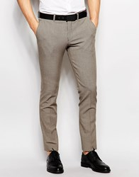 Selected Homme Skinny Dogtooth Wedding Suit Trousers With Stretch Light Brown