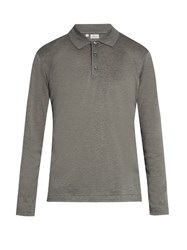 Brioni Long Sleeved Cotton Pique Polo Shirt Grey