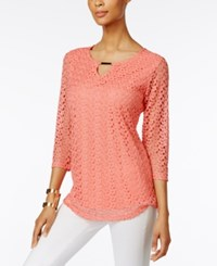 Jm Collection Crochet Lace Keyhole Top Only At Macy's Coral Shell