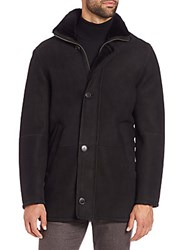 Saks Fifth Avenue Shearling Lined Leather Jacket Black