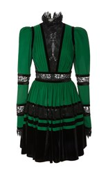 Elie Saab Long Sleeve Mini Dress Green