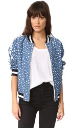 Jocelyn Reversible Denim Bomber Jacket Blue