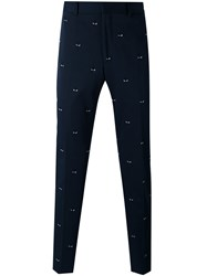 Fendi Embroidered Tailored Trousers Men Cotton Spandex Elastane Viscose 50 Blue